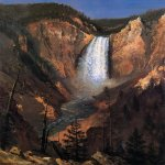 Albert Bierstadt (1830-1902)  Lower Yellowstone Falls  Oil on paper laid down on canvas, 1881  Georgia Art Museum